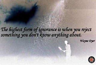 The Highest Form of Ignornace is When You Reject Something You Don't Know Anything About